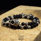 Dla mężczyzn męska biżuteria z czaszką ptaka,surowa bransoleta