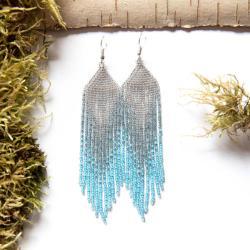 błękitne długie kolczyki,kolczyki boho błękit - Kolczyki - Biżuteria