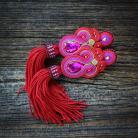 Kolczyki bordowi- różowe,kolczyki soutache