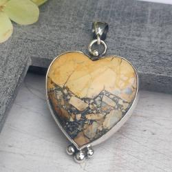 jaspis maligano,wisior,serce,srebrny wisioor - Wisiory - Biżuteria