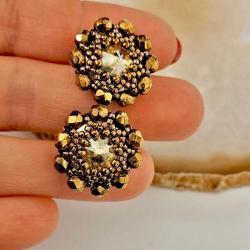 Kolczyki kryształowe Złote Kwiaty sztyfty -Srebro - Kolczyki - Biżuteria
