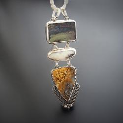 srebrny,wisior,z opalem i jaspisem oceanicznym - Naszyjniki - Biżuteria
