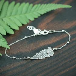 Bransoletka listek paproci,paproć,liść,kobieca, - Bransoletki - Biżuteria