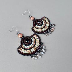 kolczyki wachlarze,haft koralikowy, - Kolczyki - Biżuteria