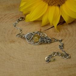 bransoletka,regulowana,cytryn,wire wrapping - Bransoletki - Biżuteria