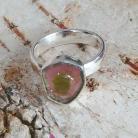 Pierścionki turmalin,arbuzowy,srebrny,delikatny,blask,różowy