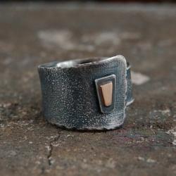 szeroki pierścionek ze srebra i złota - Pierścionki - Biżuteria