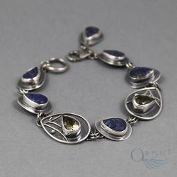 niesamowita bransoleta z lapis lazuli listki - Bransoletki - Biżuteria