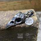 Wisiory srebrna czaszka ptaka,naszyjnik z czaszką