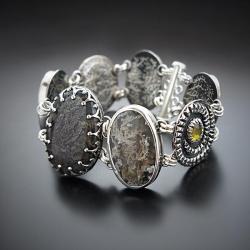 srebrna,bransoletka,z agatem mszystym i cyrkonią - Bransoletki - Biżuteria