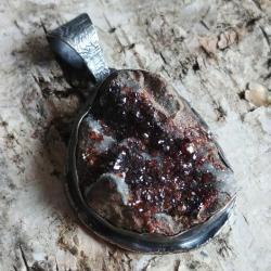kwarc,żelazisty,blask,kryształ,czerwony,srebrny - Wisiory - Biżuteria