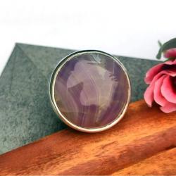 agat pasiasty,pierścionek regulowany,srebro - Pierścionki - Biżuteria
