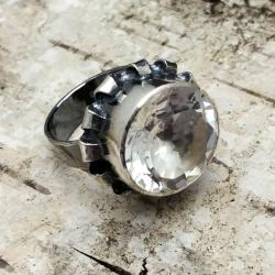 pieerścionek kryształ górski,z kryształem,srebro - Pierścionki - Biżuteria
