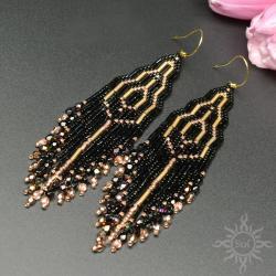 indiańskie,długie,frędzle,z frędzlami,czarne,złote - Kolczyki - Biżuteria