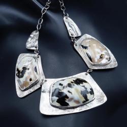 srebrny naszyjnik z muszlą tygrysią - Naszyjniki - Biżuteria