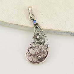 wisior,filigran,retro,kamień księżycowy,srebrny - Wisiory - Biżuteria