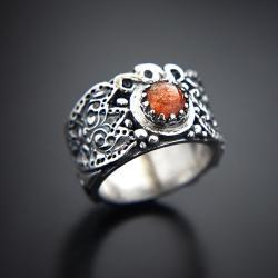 srebrny,pierścionek,z kamieniem słonecznym - Pierścionki - Biżuteria