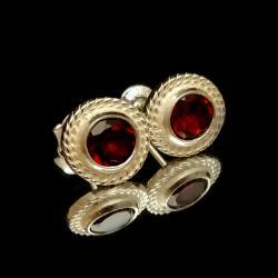 granaty,srebrne,blask,szare,winne,bordowe,retro - Kolczyki - Biżuteria