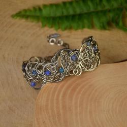 szeroka bransoleta,agat,wire wrapping - Bransoletki - Biżuteria