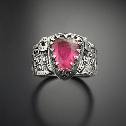 pierścionek,z turmalinem,zdobiona obrączka - Pierścionki - Biżuteria