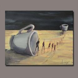 wędrówka,filiżanka,kawa,podróż,surrealizm - Obrazy - Wyposażenie wnętrz
