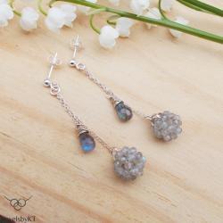 srebrne kolczyki,szarości,JewelsbyKT - Kolczyki - Biżuteria