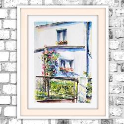 akwarela,delikatny,miasto,domek,róży - Obrazy - Wyposażenie wnętrz