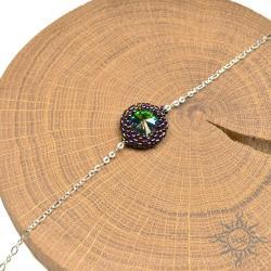fioletowa,na łańcuszku,delikatna,swarovski,na lato - Bransoletki - Biżuteria