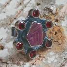 Pierścionki pierścień rubin,blask,bordowy,srebrny,surowy