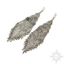 indiańskie,długie,z frędzlami,srebrne,na lato,boho - Kolczyki - Biżuteria