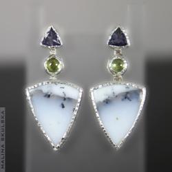 trójkątne,kolorowe,eleganckie,sztyfty - Kolczyki - Biżuteria