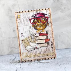 kartka dla nauczyciela,podziękowanie,kartka,sowa - Kartki okolicznościowe - Akcesoria