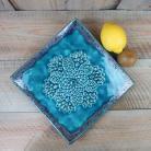 Ceramika i szkło talerz turkusowy,patera kwadratowa,ceramika,kor