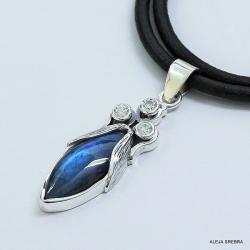 niebieski labradoryt,wisiorki,srebro,biżuteria - Wisiory - Biżuteria