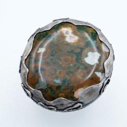 srebrny regulowany pierścionek z riolitem - Pierścionki - Biżuteria