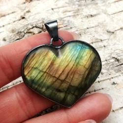 labradoryt,blask,srebrny,retro,zieleń,retro,serce - Wisiory - Biżuteria
