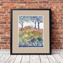 kwiaty,akwarela,pejzaż,obraz,drzewa,las, - Obrazy - Wyposażenie wnętrz