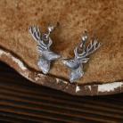 Kolczyki kolczyki z jeleniami,srebrny jeleń,ze zwierzętami