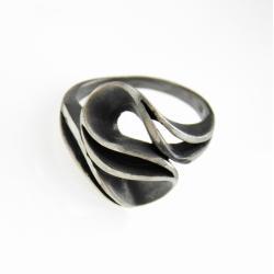 pierścionek,srebrny,biżuteria,prezent,fala, - Pierścionki - Biżuteria