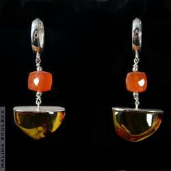 bursztyn,karneol,ciepłe kolory,jesienne - Kolczyki - Biżuteria