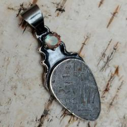 meteoryt,blask,srebrny,szary,srebro,labradoryt - Wisiory - Biżuteria