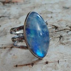 ksieżycowy pierścień,srebrny,sygnet,błękitny, - Pierścionki - Biżuteria