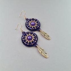 kolczyki fioletowe,haft koralikowy - Kolczyki - Biżuteria