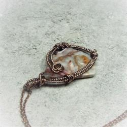 agat koronkowy,naszyjnik,miedź - Wisiory - Biżuteria