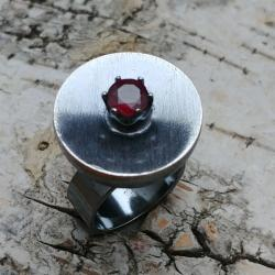 rubin,blask,bordowy,srebrny,surowy,retro,kosmos - Pierścionki - Biżuteria