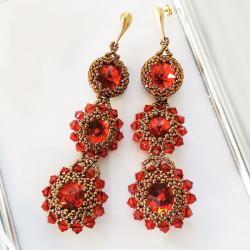 kolczyki rubinowo kwiaty Swarovski złote - Kolczyki - Biżuteria