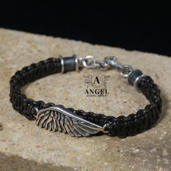 surowa bransoleta ze skrzydłem,skórzana biżuteria - Bransoletki - Biżuteria