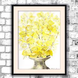 akwarela,kwiaty,martwa natura,żółty - Obrazy - Wyposażenie wnętrz