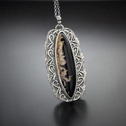 srebrny,wisior,z agatem,smukły,długi - Naszyjniki - Biżuteria