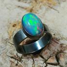 Pierścionki opal,srebrny,baśniowy,retro,teczowy,srebro,zieleń